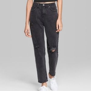 NWT Wild Fable Black Ripped High Rise Mom Jean